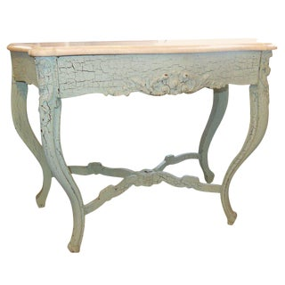 1920s Shabby Chic Charming Marble Top Console For Sale