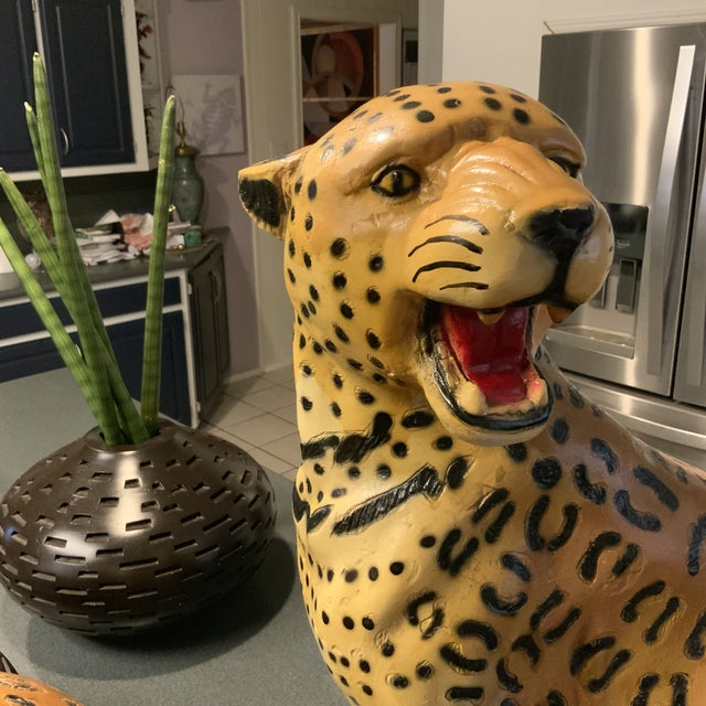 A wonderful pair of Leopards from the 1950s. These were made in Mexico and were used to line the entrance to a circus....