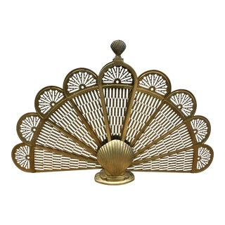 Brass Sea Shell Folding Fan Fireplace Screen For Sale