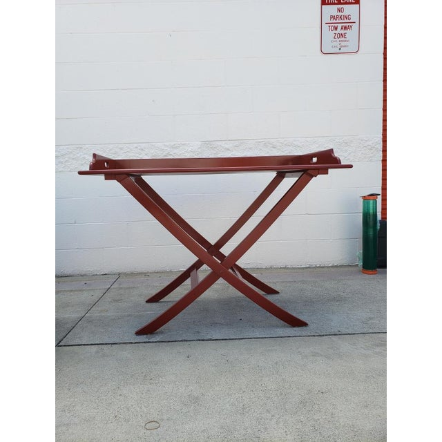 Boho Chic Oscar De La Renta Boho Chic Red Bar Table For Sale - Image 3 of 4
