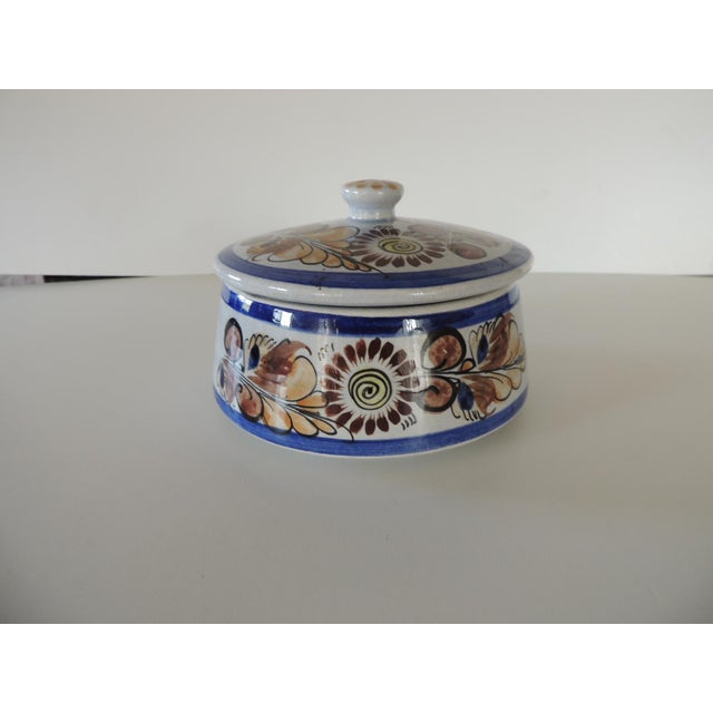 """Round Blue and Brown Mexican Talavera Ceramic Decorative Box Floral pattern lidded box. Signed Size: 5.5""""D x 4""""H"""