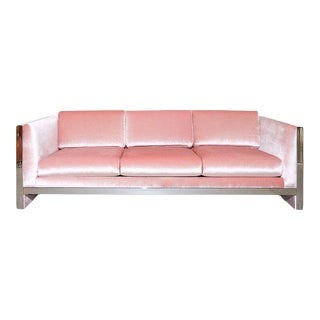 Vintage Milo Baughman Pink Velvet & Chrome Sofa For Sale