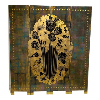 Vintage Art Deco Style 4-Panel Room Divider Screen For Sale