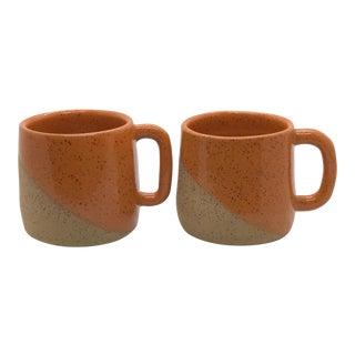 Handmade Tangerine Half Dip Mugs - a Pair