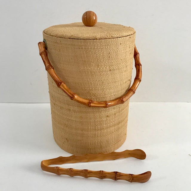 Vintage Grasscloth Ice Bucket With Faux Bamboo Tongs - A Pair - Image 5 of 7