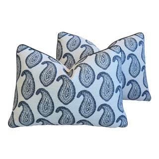 """Martyn Lawrence Bullard Blue Paisley Feather/Down Pillows 22"""" X 16"""" - Pair For Sale"""