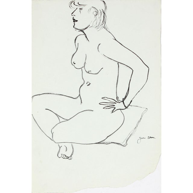 Figurative 20th Century Sketch of a Seated Woman on Pillow in Ink For Sale - Image 3 of 3