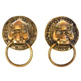 Image of Vintage Large Warrior Door Knockers- a Pair For Sale