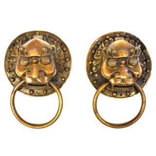 Vintage Large Warrior Door Knockers- a Pair For Sale