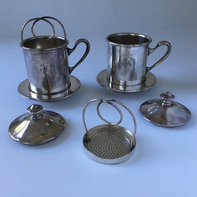 French Silverware Egoist Tea Cup Filter Set, 1850 For Sale - Image 9 of 11
