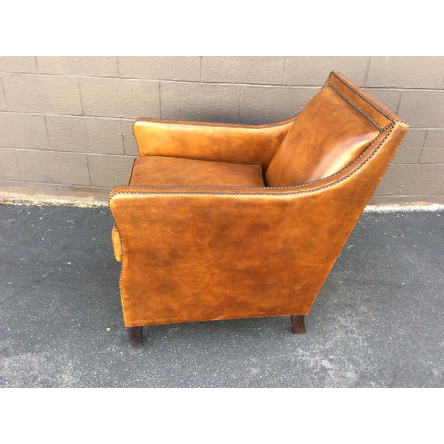 Leather Brown Leather Club Chair For Sale - Image 7 of 12