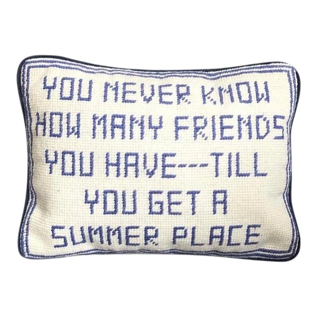 21st Century Needlepoint Summer House Pillow For Sale