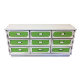 Mid Century Lime Green & White 9 Drawer Dresser For Sale