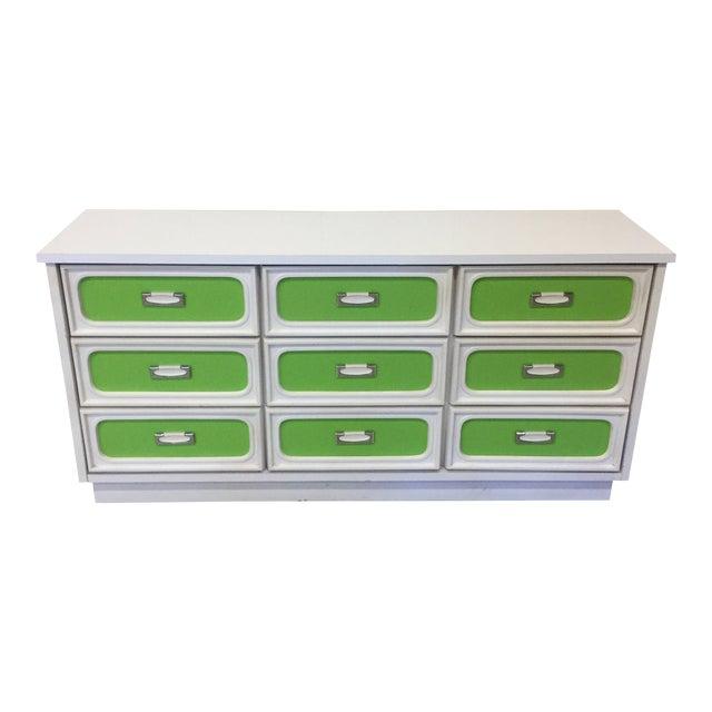 Mid Century Lime Green & White 9 Drawer Dresser For Sale