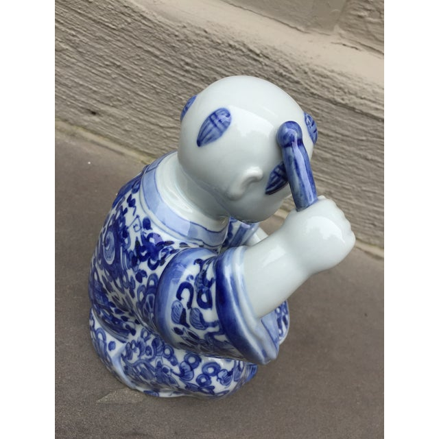 Ceramic 1970's Chinoiserie Blue and White Porcelain Sculpture Baby Buddha With Drum For Sale - Image 7 of 9