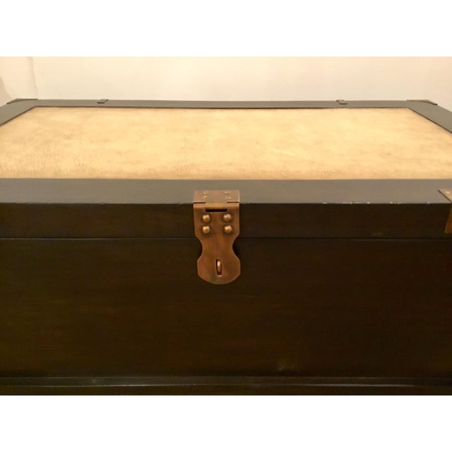 Transitional Currey & Co. Transitional Dark Wood Coffee Table Trunk Prototype For Sale - Image 3 of 7