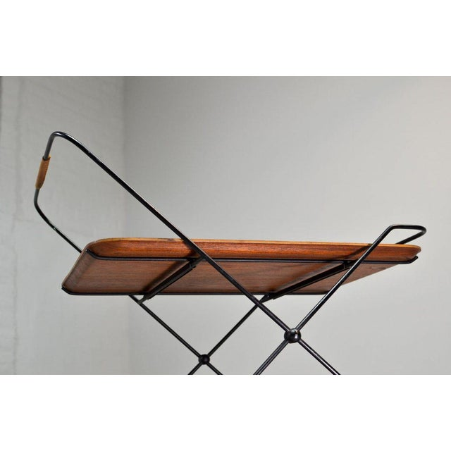 Gold Mid-Century Design Teak and Steel Tea Trolley on Brass wheels by Paul Nagel, Germany 1950s For Sale - Image 8 of 13