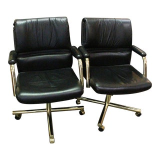 1970s Vintage Leather Office Chairs- A Pair For Sale