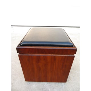 Lane Mid Century Walnut Game Table & Stool Combo With Record Lp Storage Preview