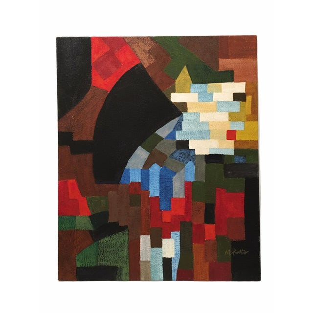 Vintage Abstract Geometric Oil Painting on Canvas For Sale - Image 10 of 10