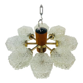 1960s Teak and Ice Glass Chandelier by Temde, Switzerland For Sale