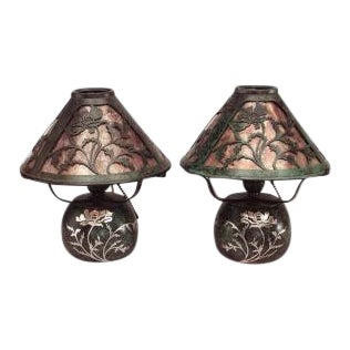 Pair of American Mission bronze green patina boudoir table lamps For Sale