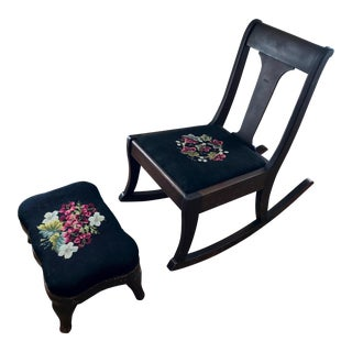 Antique Mahogany Needlepoint Rocking Chair and Footstool