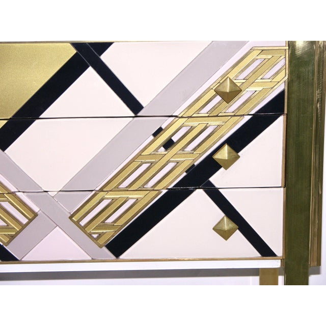 1990s Italian White Black and Gold Chest Sideboard on Brass Legs For Sale - Image 4 of 10