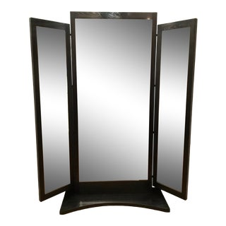 Caracole Modern Black Wood Tri-Fold Floor Mirror Prototype For Sale