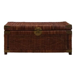 Vintage Chinese Wicker Trunk For Sale