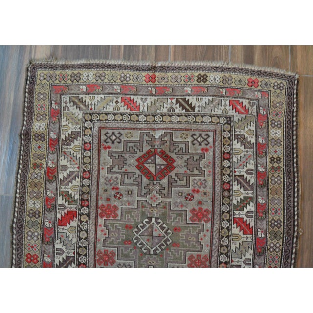 Distressed Vintage Star Kazak Rug - 3′9″ × 5′ - Image 6 of 9