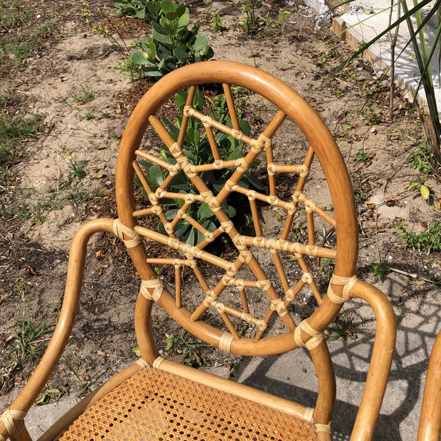 """Hollywood Regency Hollywood Regency McGuire """"Cracked Ice"""" Rattan Chairs - a Pair For Sale - Image 3 of 10"""