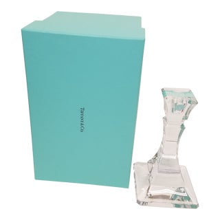 Tiffany and Co. Lead Crystal Candleholder & Box - 2 Pieces For Sale