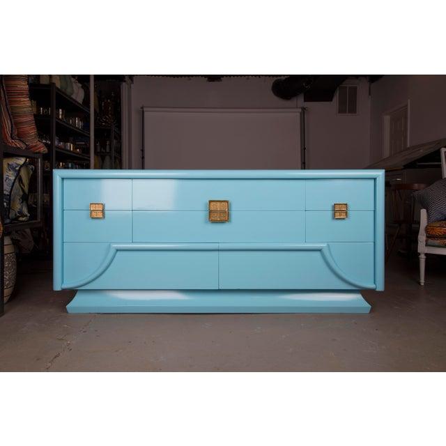 Blue 1940's Blue Lacquered Art Deco Chinoiserie Dresser For Sale - Image 8 of 8