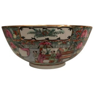 Canton Famille Rose Chinese Export Porcelain Centerpiece Bowl For Sale