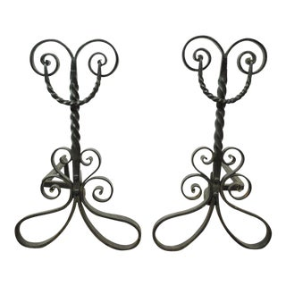 Pair of Antique Wrought Iron Arts & Crafts Art Nouveau Scrolling Andirons Black For Sale