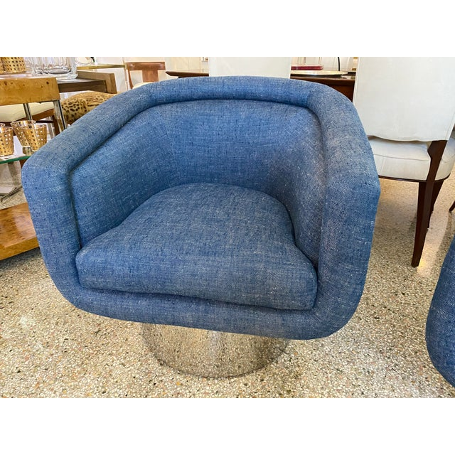 Mid-Century Modern Leon Rosen for Pace Chairs Memory Swivel - a Pair For Sale - Image 10 of 13