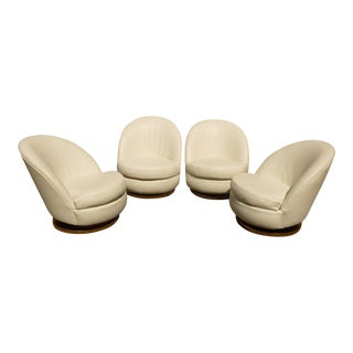 1970s Vintage Milo Baughman White Leather Tub Chairs - Set of 4