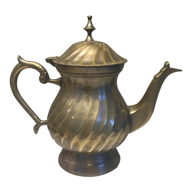 Art Deco Swirl Silver Plated Tea Pot For Sale