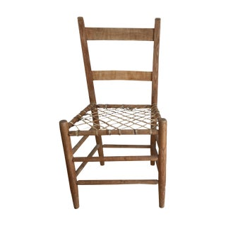 Vintage Rustic Woven Rawhide & Wooden Chair