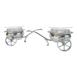 Vintage F.b. Rogers Silverplate Wagon Wheel Wine Caddy/ Condiment Servers - 4 Pieces For Sale