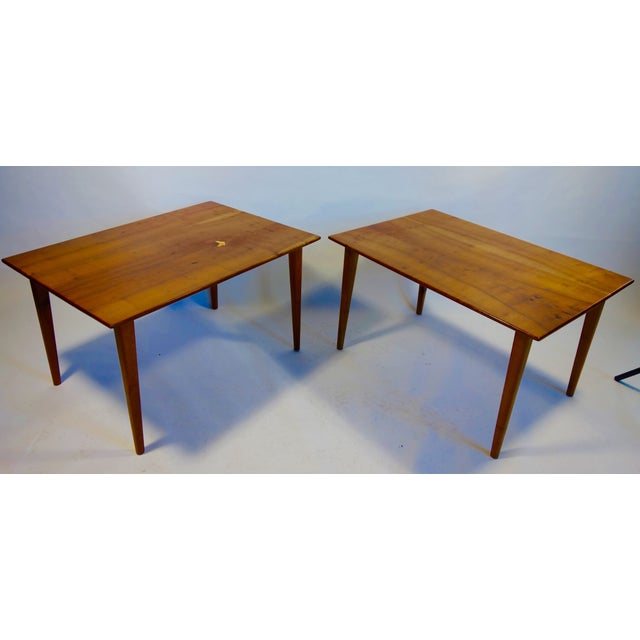 """A fabulous pair of Arthur Espenet Carpenter III tables. Constructed of bay laurel with lacewood inlay. Height: 20.75,""""..."""