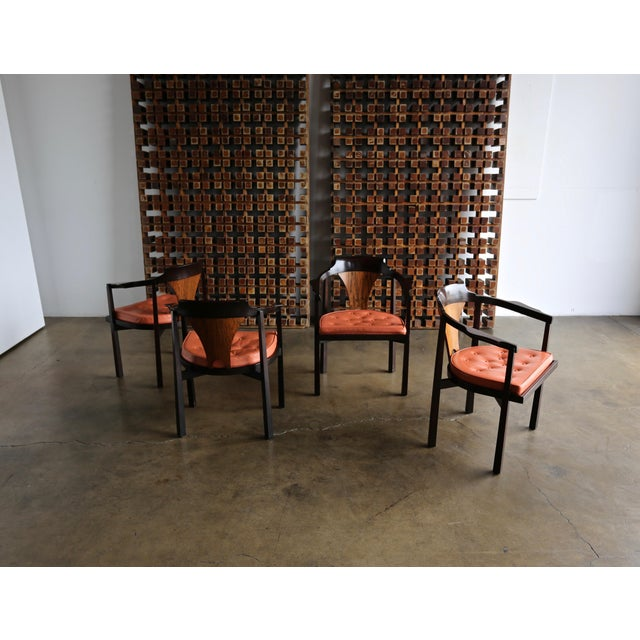 "Leather Set of Four ""Horseshoe"" Chairs by Edward Wormley for Dunbar For Sale - Image 7 of 13"