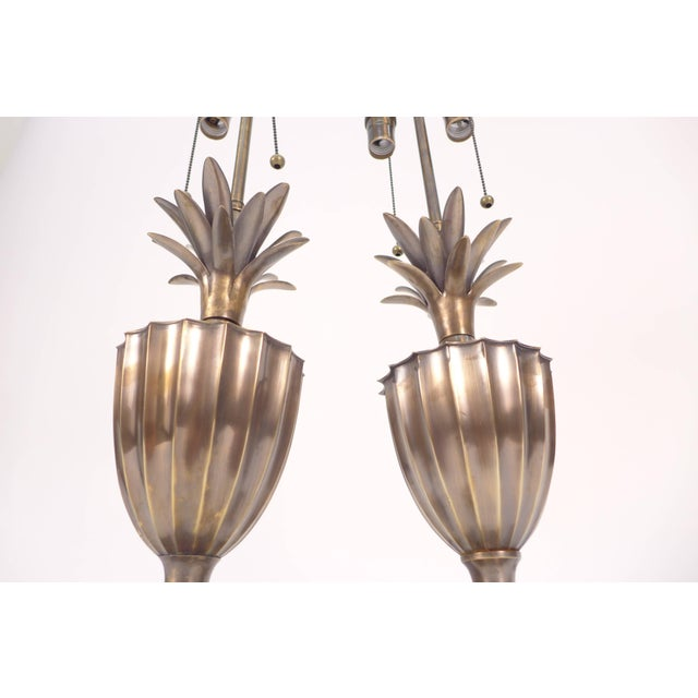 Chapman Manufacturing Company Patinated Pineapple Fluted Brass Table Lamps For Sale - Image 4 of 9