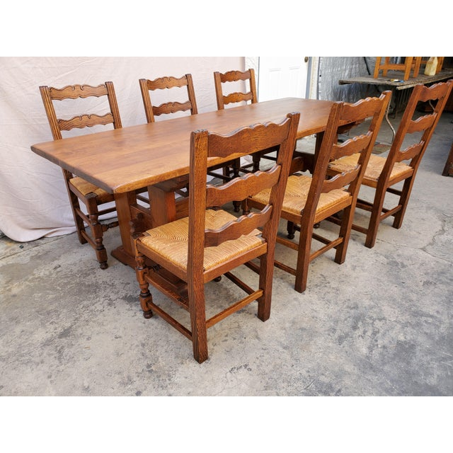Antique Plank Solid Oak Refectory Dining Table With Set of 6 Ladderback Chairs - 7 Pieces For Sale - Image 4 of 13