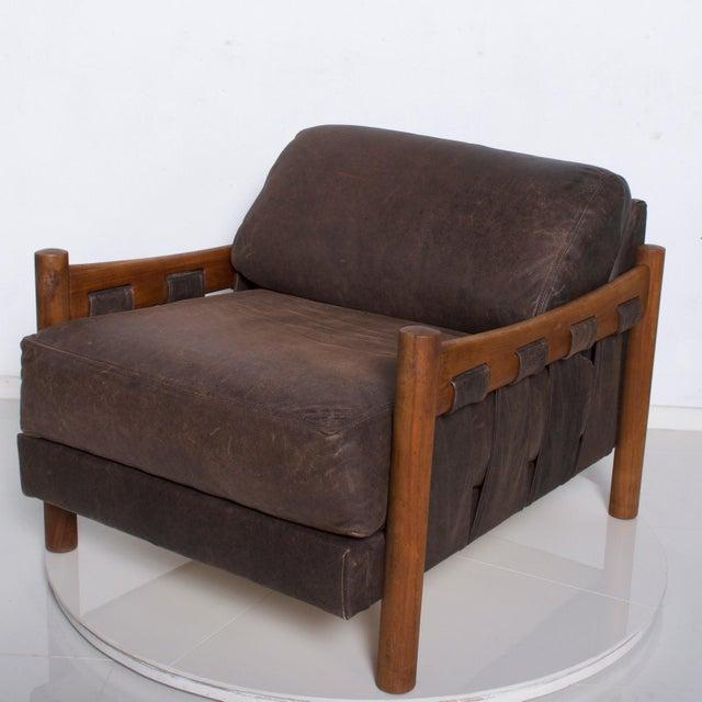 1970s Mid Century Modern Craft Associates Brazilian Leather Lounge Safari Chair For Sale - Image 5 of 11