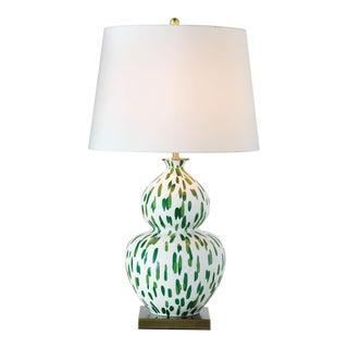 Madcap Cottage Green Gourd Porcelain Table Lamp For Sale