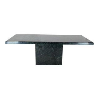 1970s Mid-Century Modern Rectangular Single Marble Pedestal Dining Table For Sale