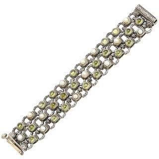 Sterling Silver, Citrine and Pearl Designer Jeweler Bracelet For Sale