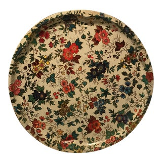 Vintage Floral Round Metal Serving Tray
